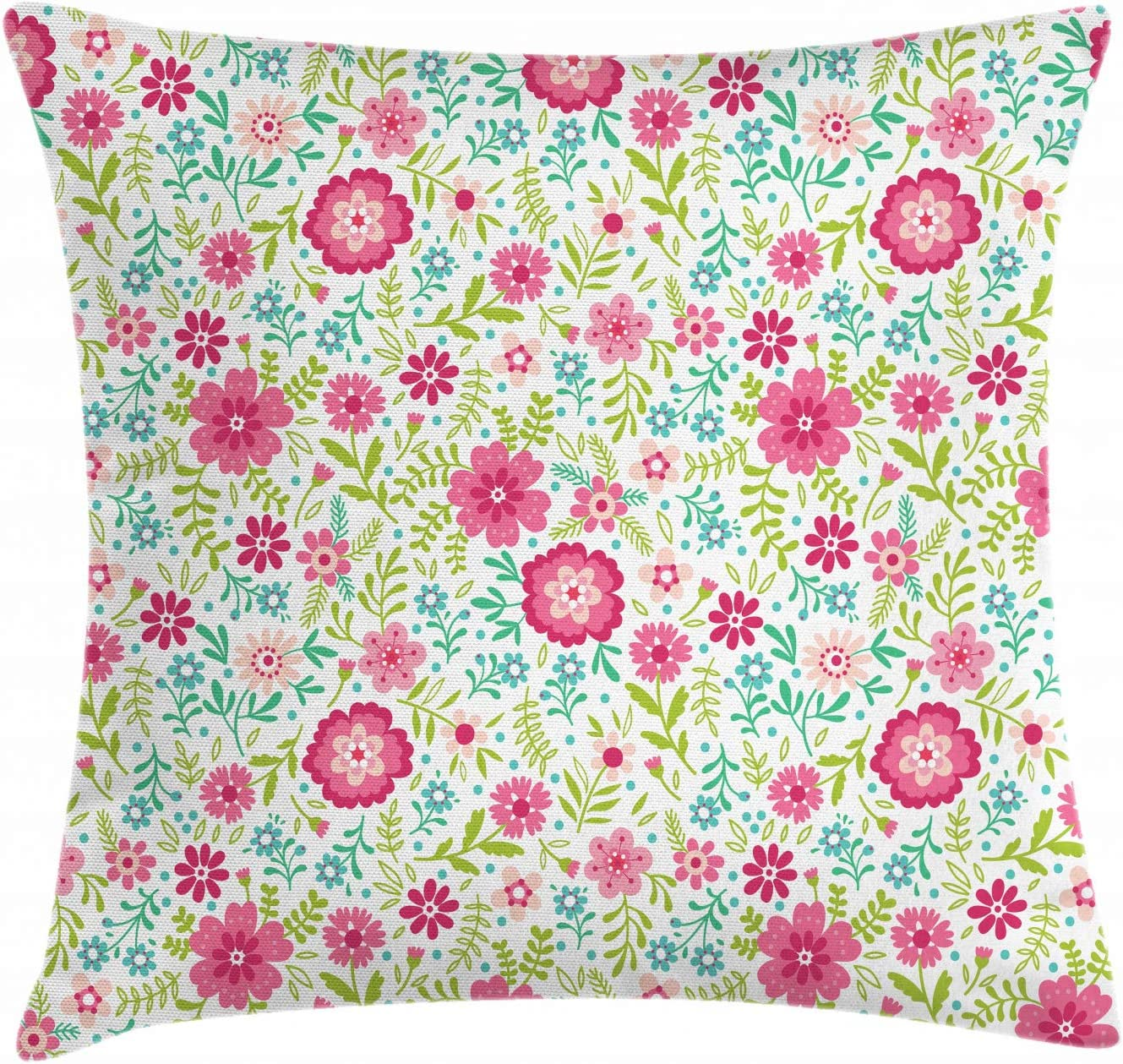 Amazon Com Ambesonne Spring Throw Pillow Cushion Cover Blossoming Field With Fern Branches Leaves And Flowers Ornamental Decorative Square Accent Pillow Case 20 X 20 Pink Lime Green Turquoise Home Kitchen