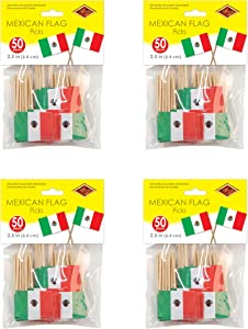 Beistle Mexican Flag Picks, Red/White/Green