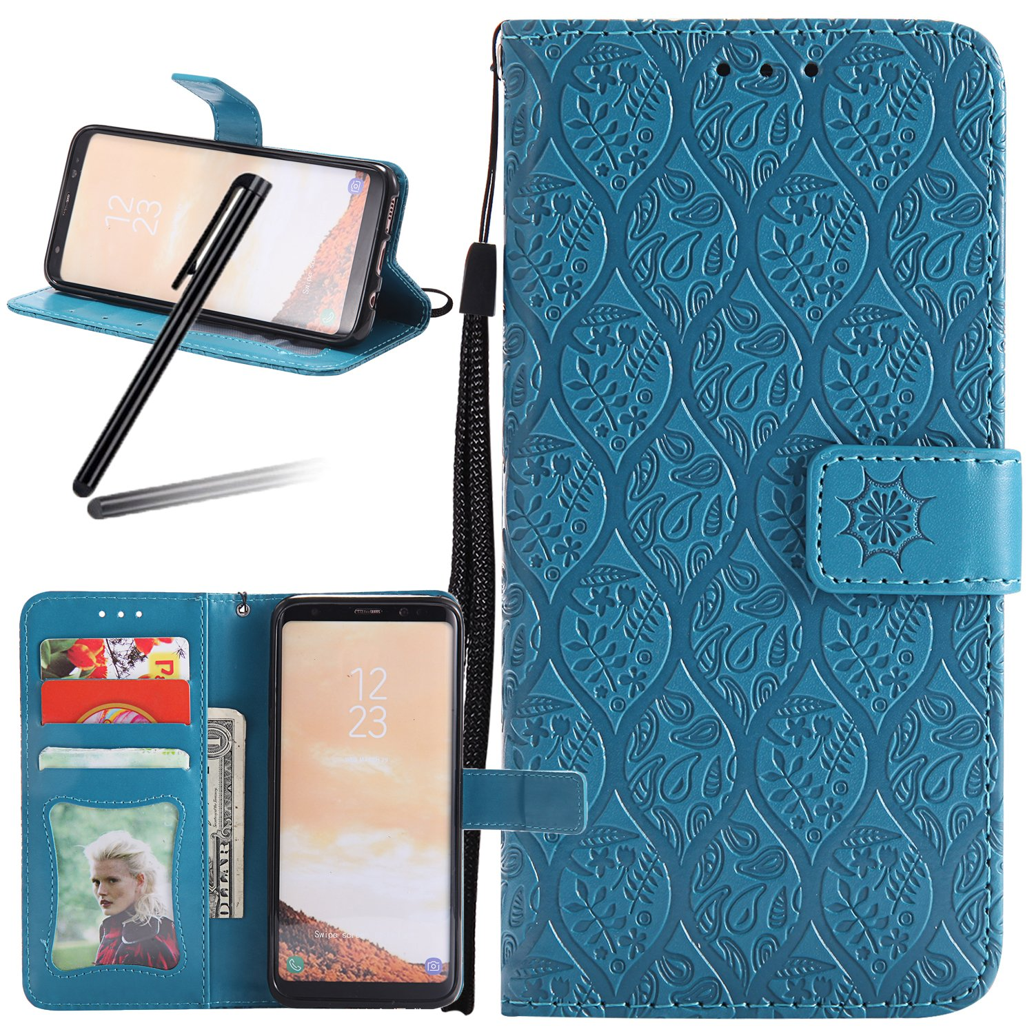 Galaxy S8 Stand Case, Samsung Galaxy S8 Wallet Case, Galaxy S8 2017 PU Leather Case, SKYMARS Weave Flower Pattern Embossed PU Leather Flip Kickstand Cards Slot Cash Pockets Wallet Magnetic Closure Book Style Case for Samsung Galaxy S8 2017 Weave Dark Blue