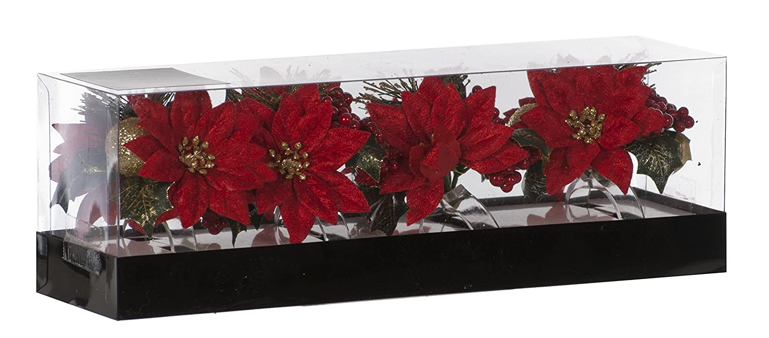 Festive Napkin Ring's Christmas Red and Gold Poinsettia -Set of 4