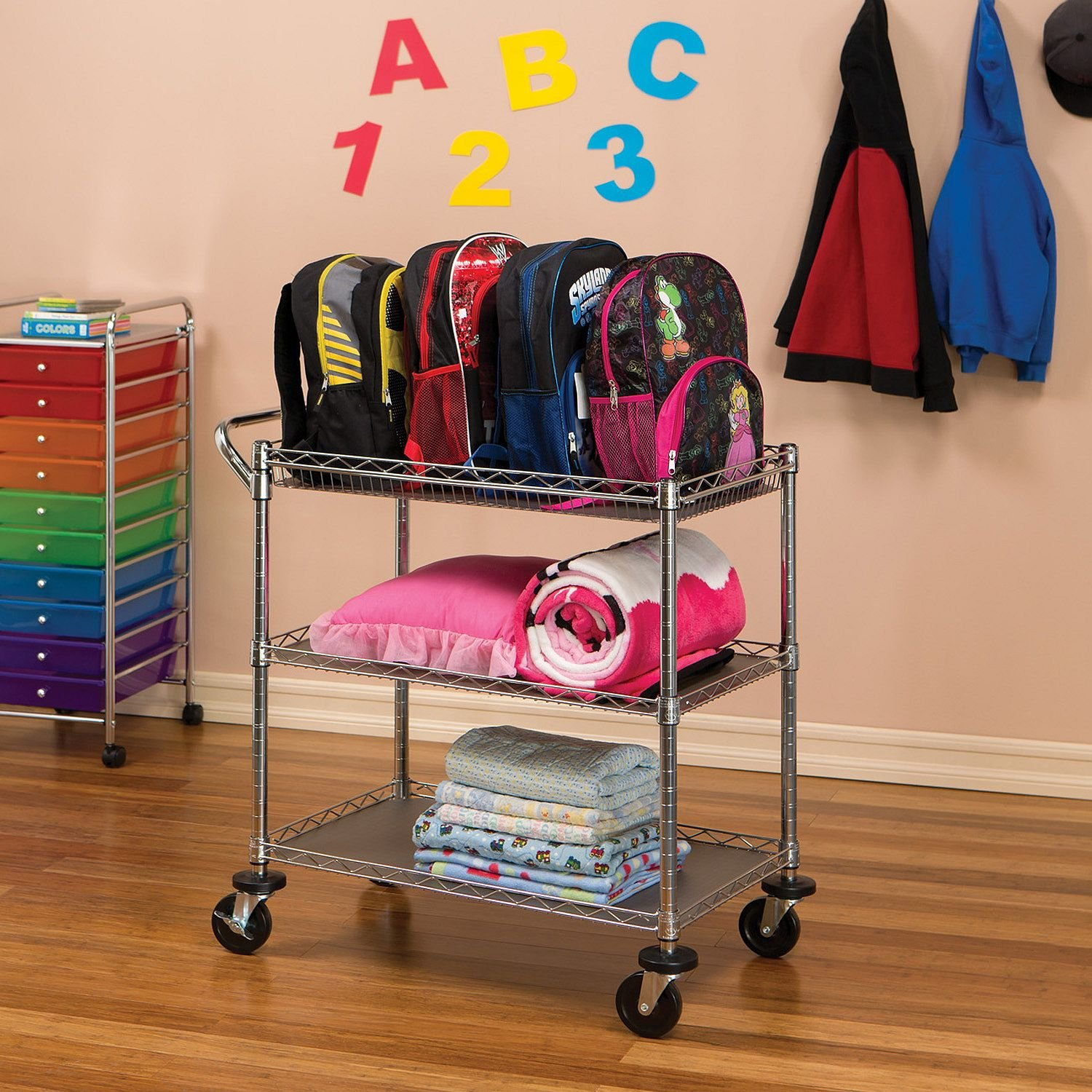 Utility Cart with Wheels Features Two Height Adjustable Shelves, Corner Bumpers and 4-Inch Caster Wheels, Zinc Plated Steel Finish, Perfect for Storage Organization in Any Rooms