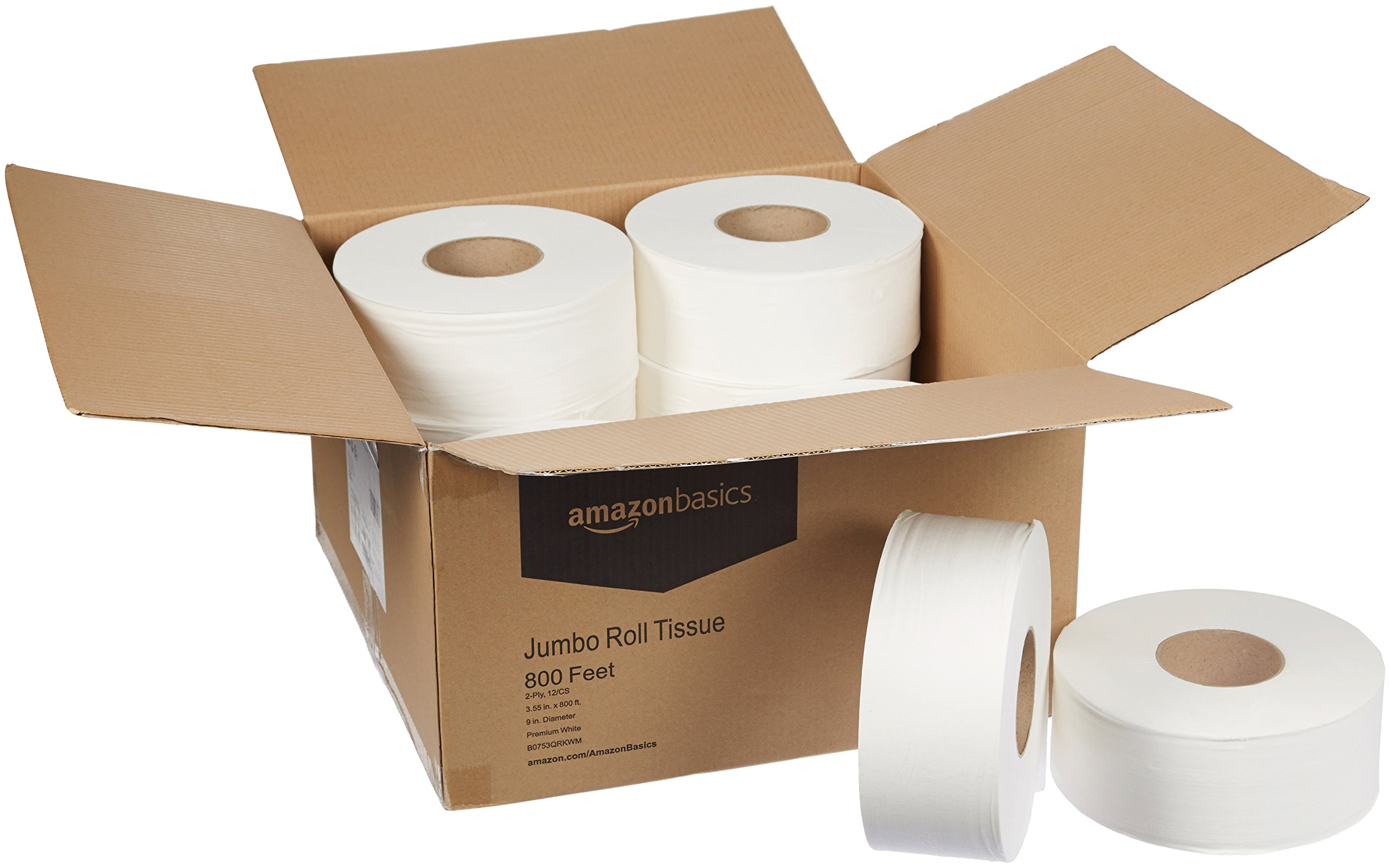 AmazonBasics Professional Jumbo Roll Toilet Tissue for Businesses, 2-Ply, 800 Feet per Roll, 12 Rolls by AmazonBasics (Image #4)