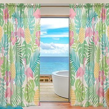 Sheer Voile Fenster Vorhang Flamingo Tropische Ananas Floral Blatt Muster  Bedruckt Polyester Material Stoff Für Schlafzimmer