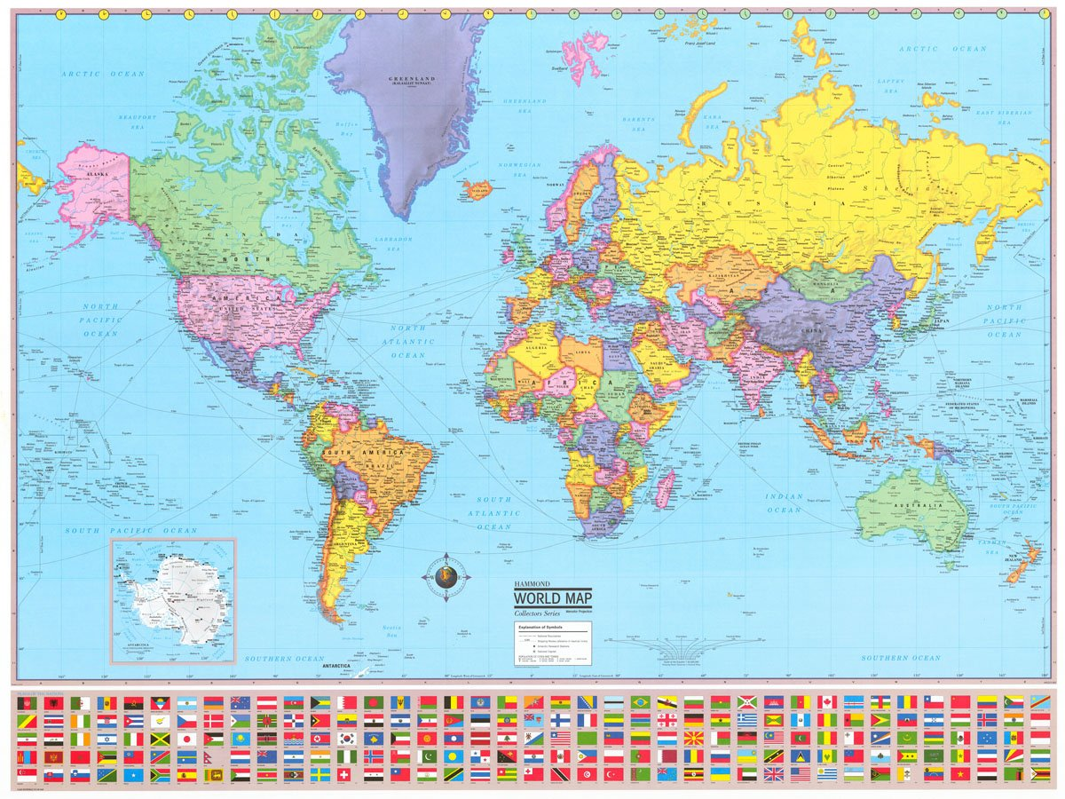 Amazon Com Advanced Us World Political Laminated Rolled Map Office Products