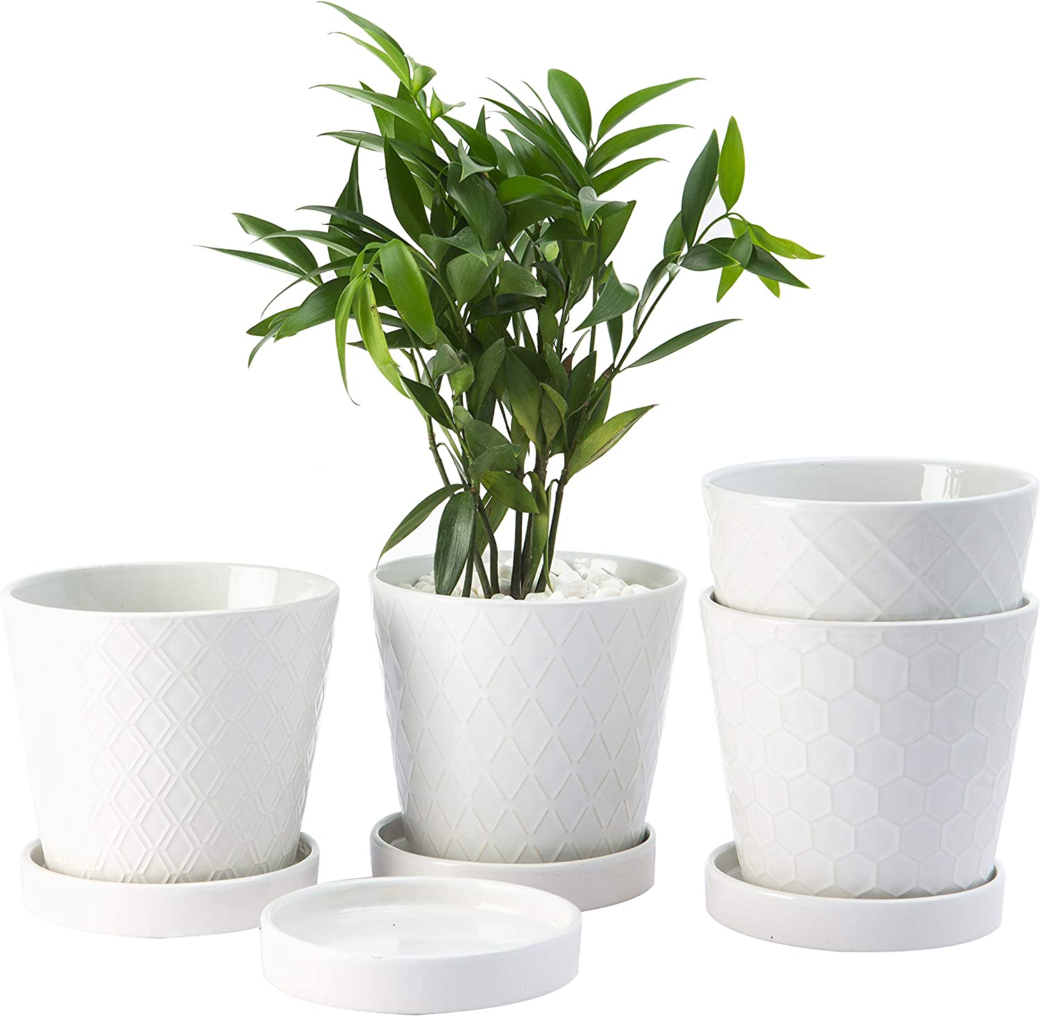 "BUYMAX Plant Pots Indoor –5""inch Ceramic Flower Pot with Drainage Holes and Ceramic Tray - Gardening Home Desktop Office Windowsill Decoration Gift Set 4 - Plants NOT Included"