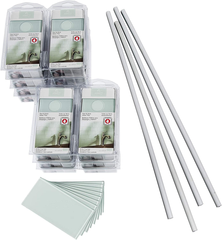 - Amazon.com: Aspect Peel And Stick Backsplash Kit Morning Dew Glass