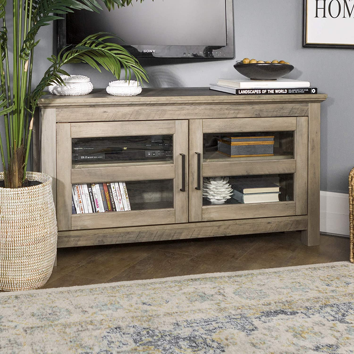 WE Furniture Modern Farmhouse Wood Corner Universal Stand for TV's up to 50