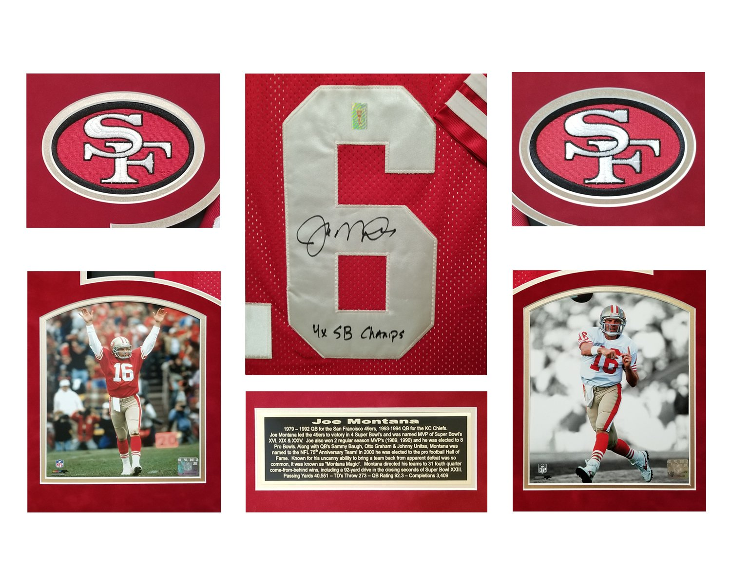 0d1ff3a346d Joe Montana Autographed San Francisco 49ers Jersey in Custom framed shadow  box with Inscription and hologram at Amazon s Sports Collectibles Store