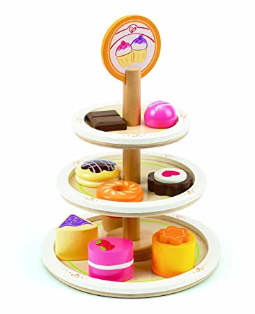 Amazon Com Hape Dessert Tower Wooden Play Kitchen Food Sets And