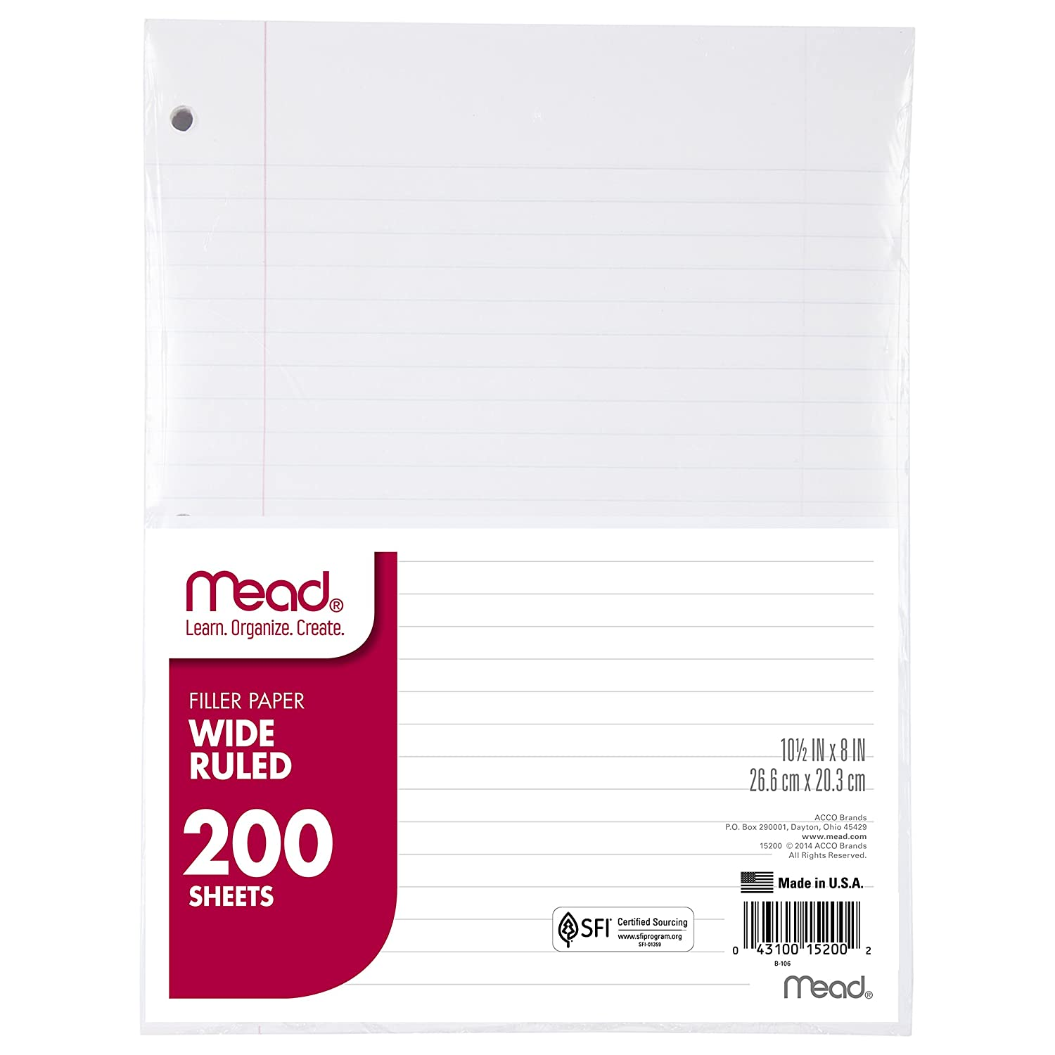 com mead filler paper loose leaf paper wide ruled paper  com mead filler paper loose leaf paper wide ruled paper 200 sheets 10 1 2 x 8 white 15200 prime pantry