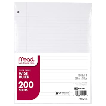 Amazon.Com: Mead Filler Paper, Loose Leaf, Wide Ruled, 200 Sheets