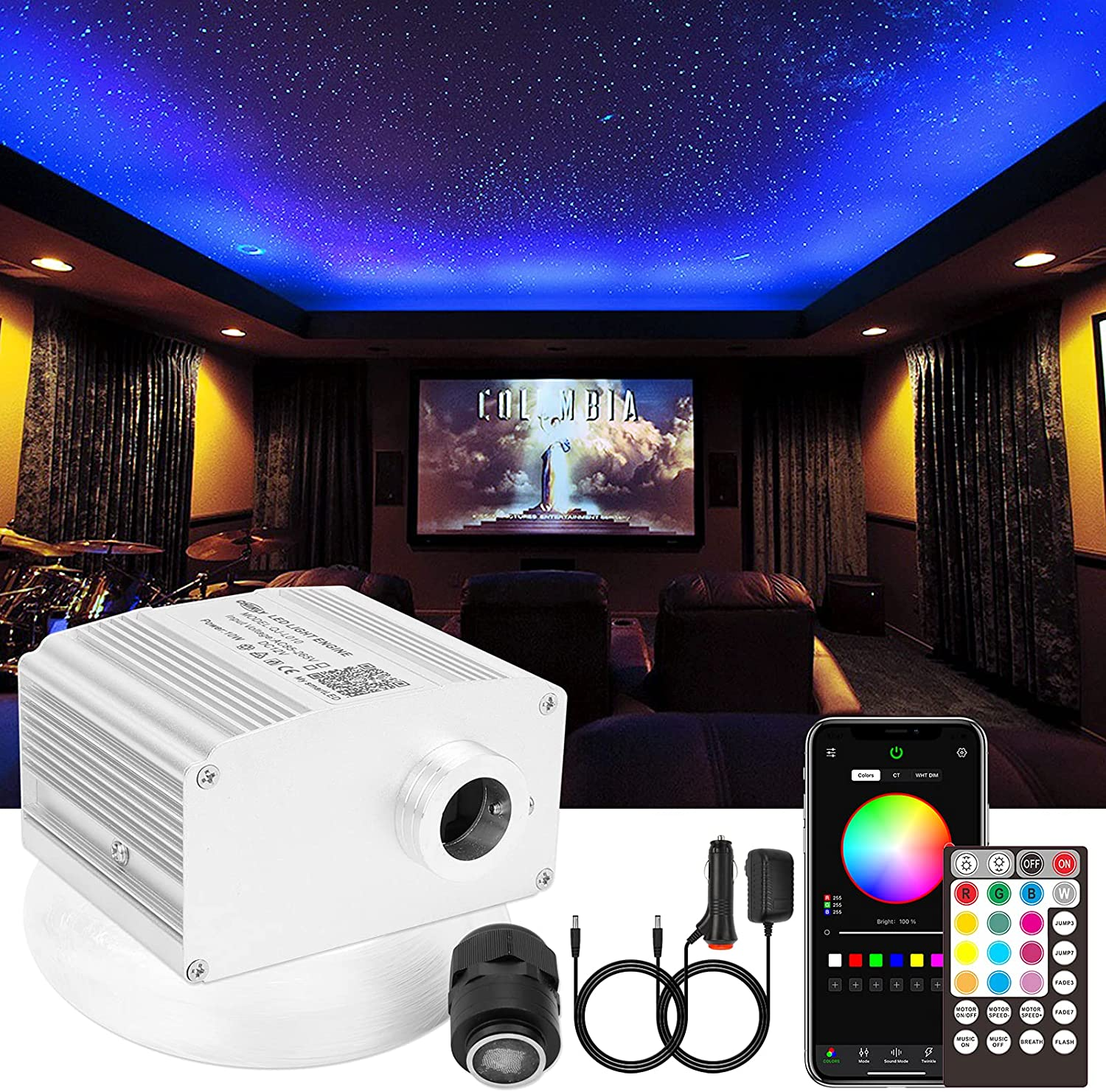 CHINLY 10W Twinkle 550pcs 0.03in 13.1ft RGBW Bluetooth APP/Remote LED Fiber Optic Star Ceiling Lights Kit +Adapter+Cigarette Lighter for Car/Home Theater
