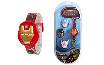 Rvold Avengers Watch - Iron Man Character Digital Dial Kids Watch with 3 Additional Top Screen Design