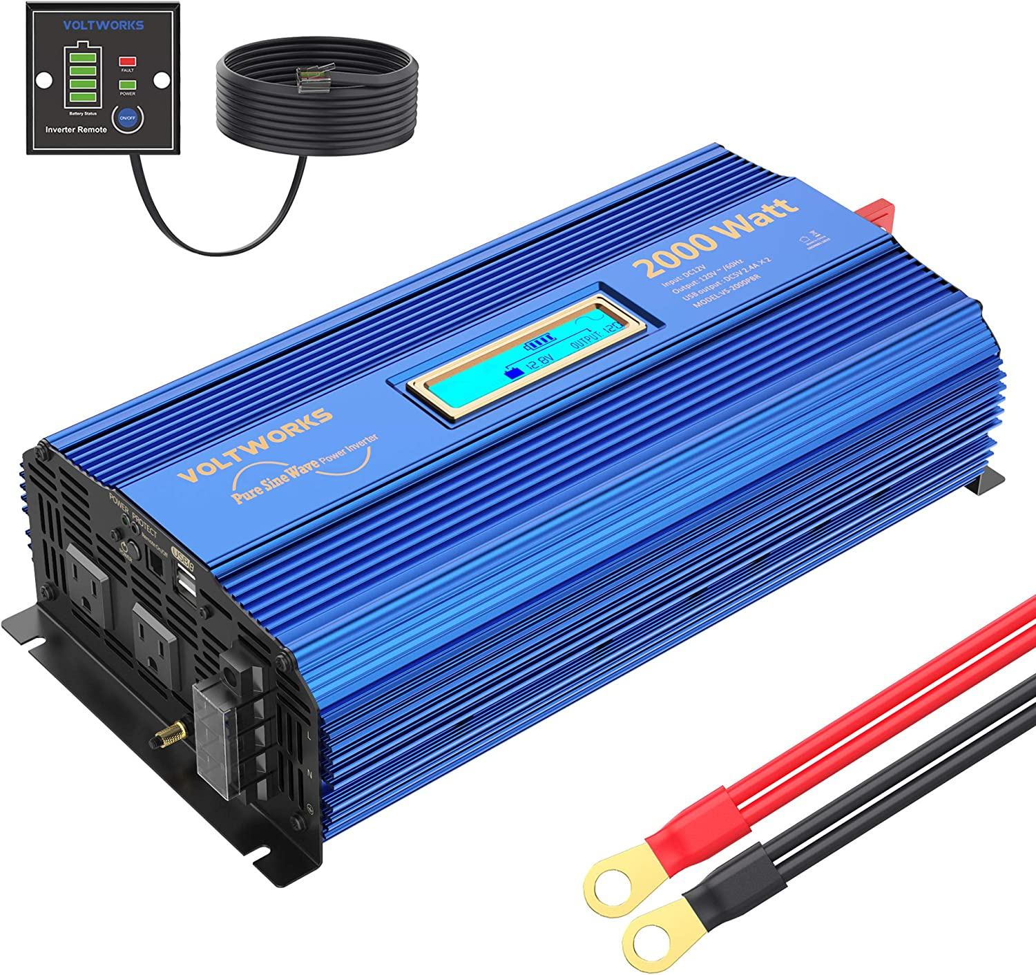 LEEKINO Pure Sine Wave Power Inverter 2000 Watts DC 12V to 240V AC Converter with LCD Display and 5m Remote Controller Peak Power 4000W 3 AC Outlets /& 2 USB Port