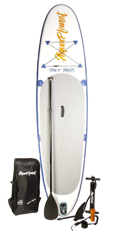 Aquaplanet MAX Kit completo para SUP (tabla de 3,2 x 76 cm x 15 cm). con bomba de aire, pala, mochila, correa para la pierna, bolsa de surf impermeable, ...