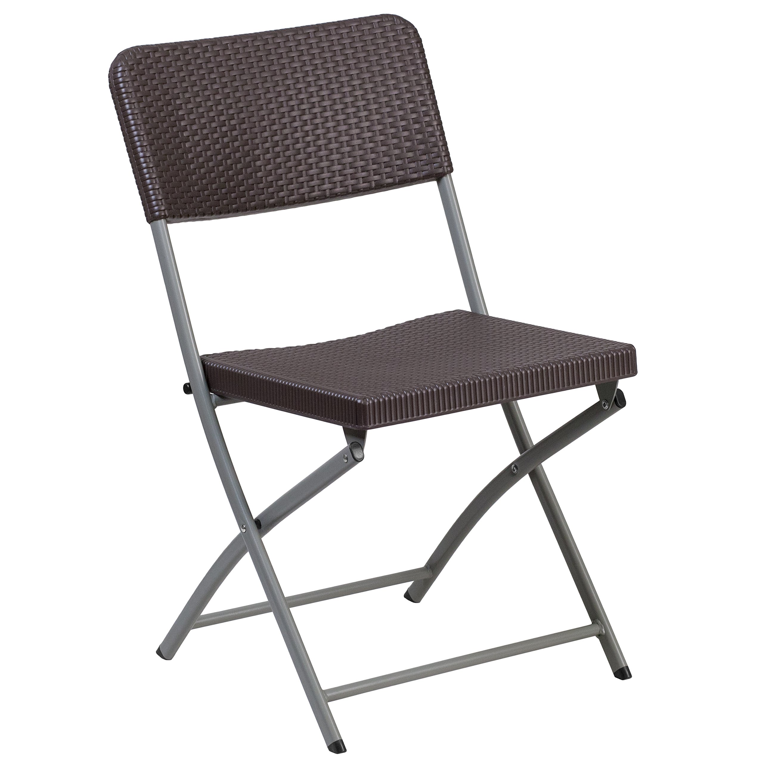 Flash Furniture HERCULES Series Brown Rattan Plastic Folding Chair with Gray Frame