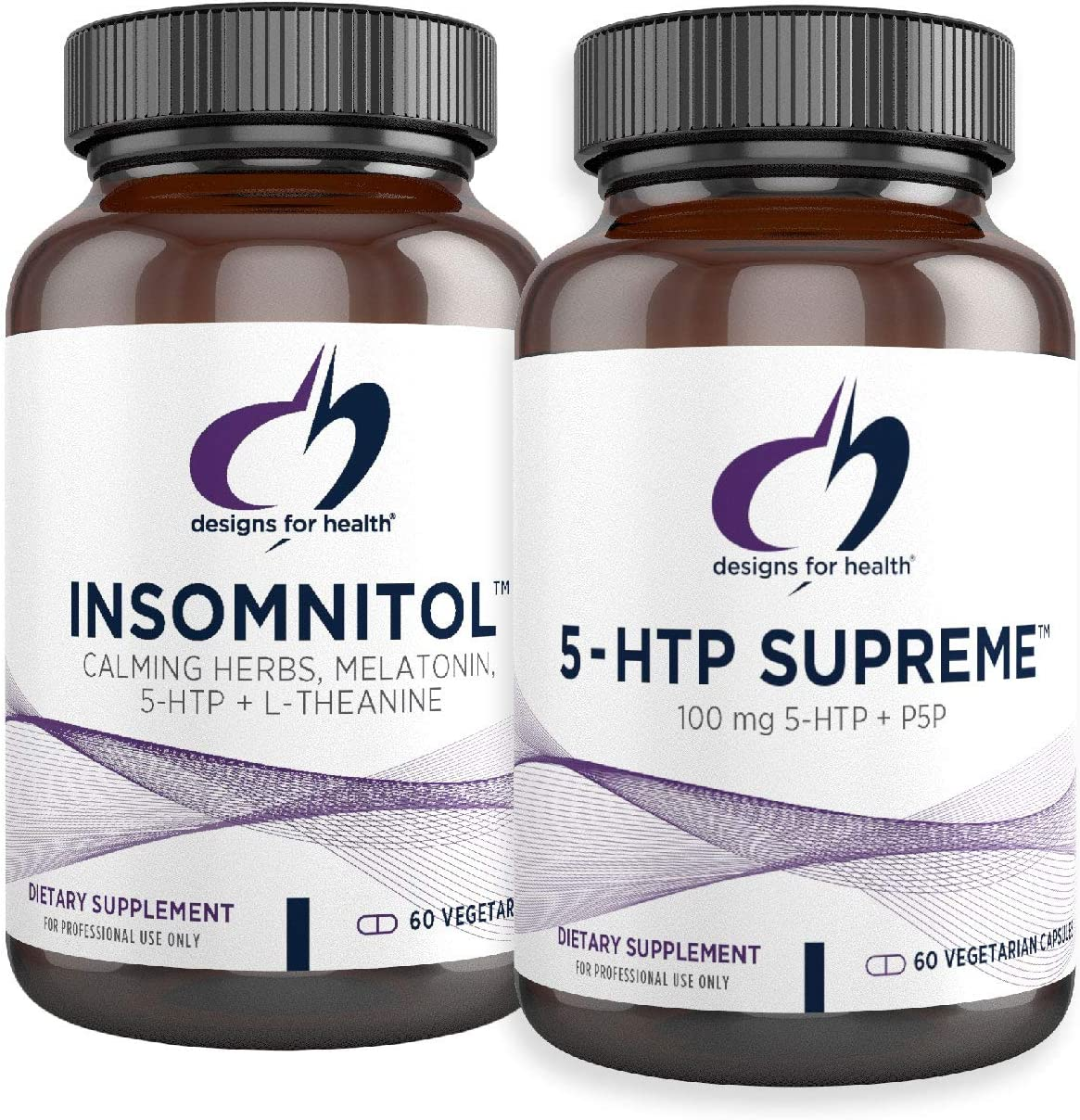 Designs for Health 5-HTP + Insomnitol Duo - Sleep and Mood Support Supplements, Includes Valerian, Melatonin, and L-Theanine (2 Product Set)