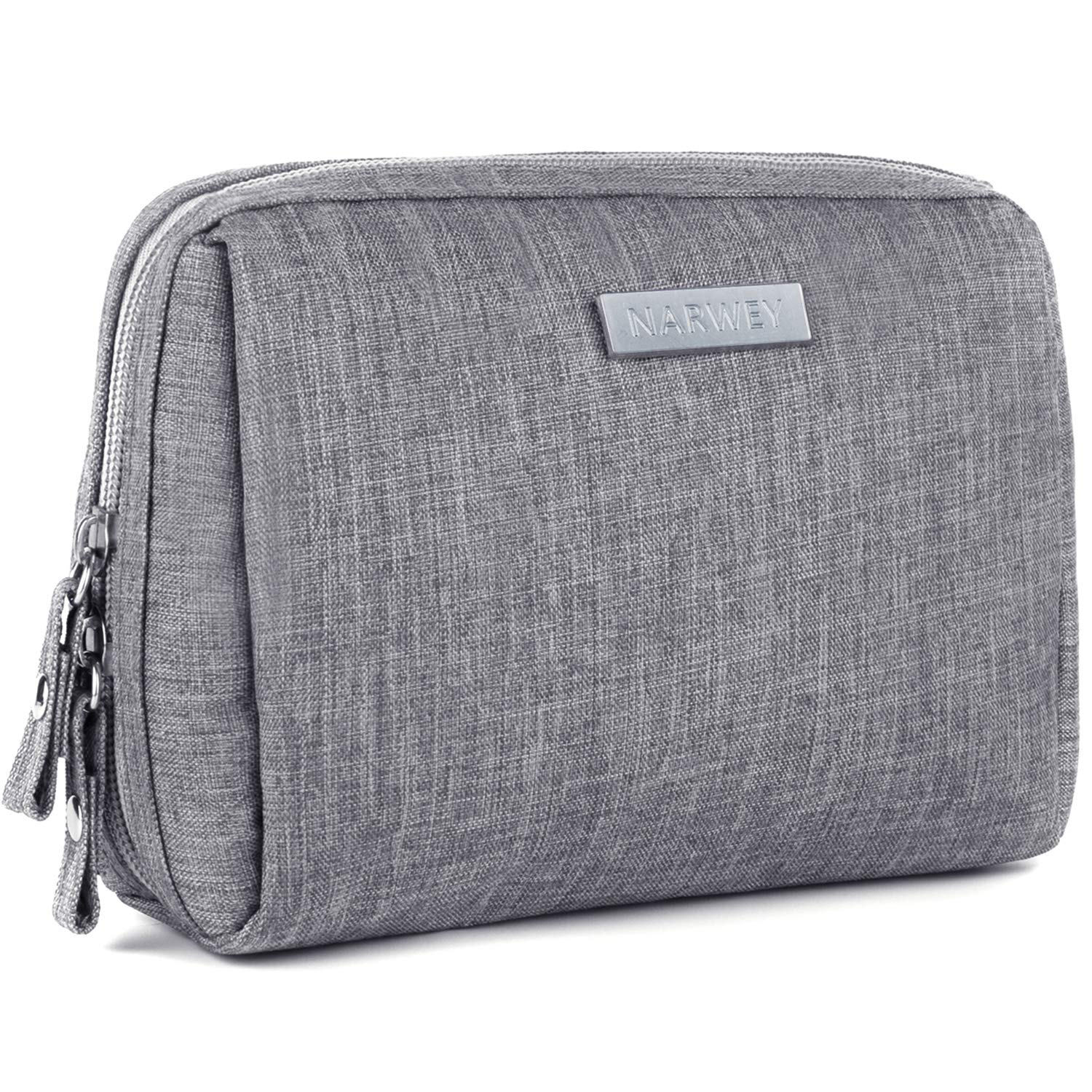 Small Makeup Bag for Purse Travel Makeup Pouch Mini Cosmetic Bag for Women Girls (Rectangle-Gray)
