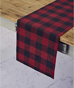 Solino Home 100% Pure Linen Buffalo Check Table Runner – 14 x 48 Inch Red & Black Checks Table Runner Natural Fabric Handcrafted from European Flax