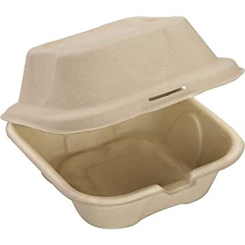 Biodegradable 6x6 Take Out Food Containers with Clamshell Hinged Lid 50 Pack. Microwaveable, Disposable Takeout Box to Carry Meals ToGo.
