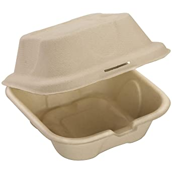 Biodegradable 6 x 6 take out alimentos contenedores con tapa con ...