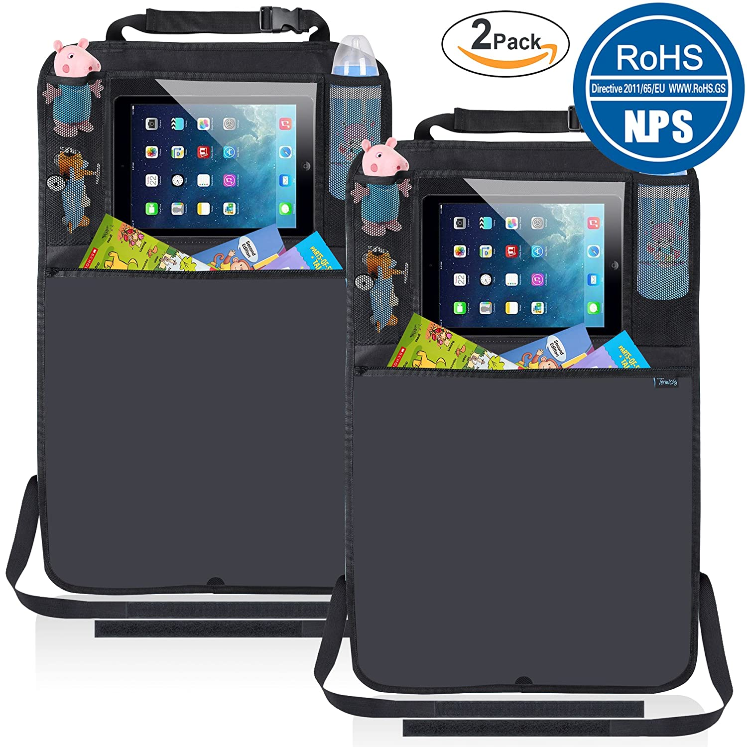 2 Pack Car Organisers Kick Mats, Waterproof Seat Back Protectors with Clear iPad Holder Termichy