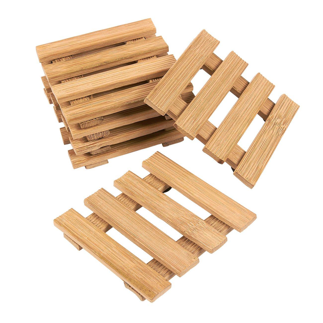 Wood Coasters Set - 6 Pack Mini Pallet Bamboo