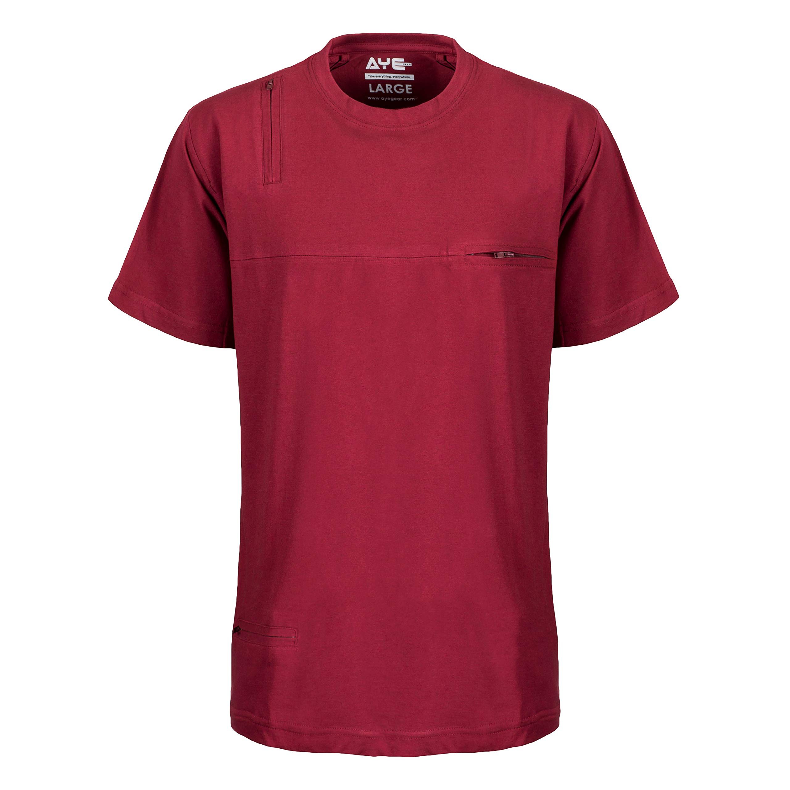 AyeGear T5 T-Shirt - 5 Discreet Pockets - Premium Quality with Soft Touch Feel - (Blood Red, XXXL) by AyeGear