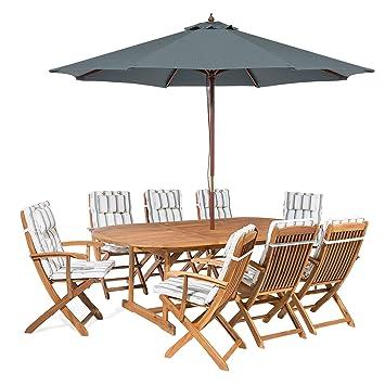 Salon de Jardin avec Parasol et Coussin Beige et Vert Maui: Beliani ...
