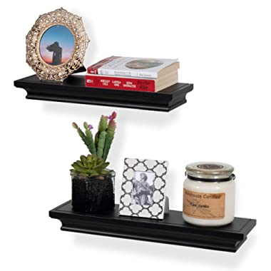 brightmaison Crown Molding Floating Shelves Picture Ledge – 2 Set Shelf – for Frames Book Display Décor with Concealed Metal Bracket for Stable Wall Mount (Black)