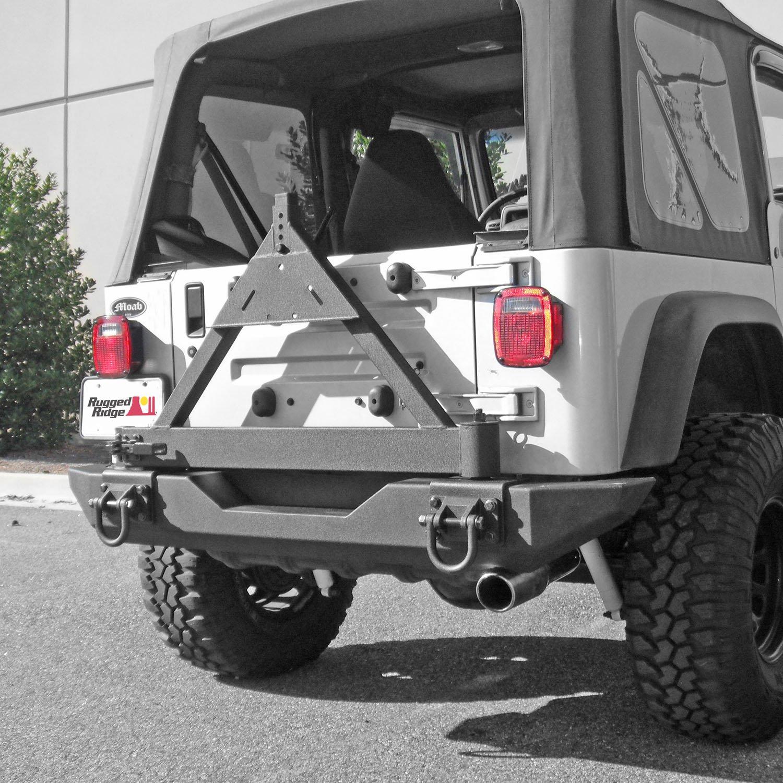 Rugged Ridge 11546.42 XHD Bumper Tire Carrier, Rear; 76-06 Jeep CJ/Wrangler YJ/TJ