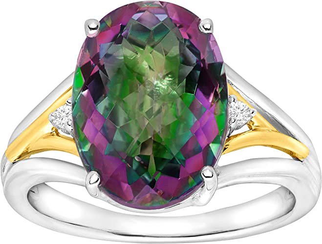 MYSTIC FIRE TOPAZ 18K GOLD OVER STERLING SILVER RING SIZE 8 9 10 11 12 13