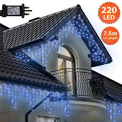 Icicle Lights 220 Led 7 5m Blue Outdoor Christmas Lights Indoor
