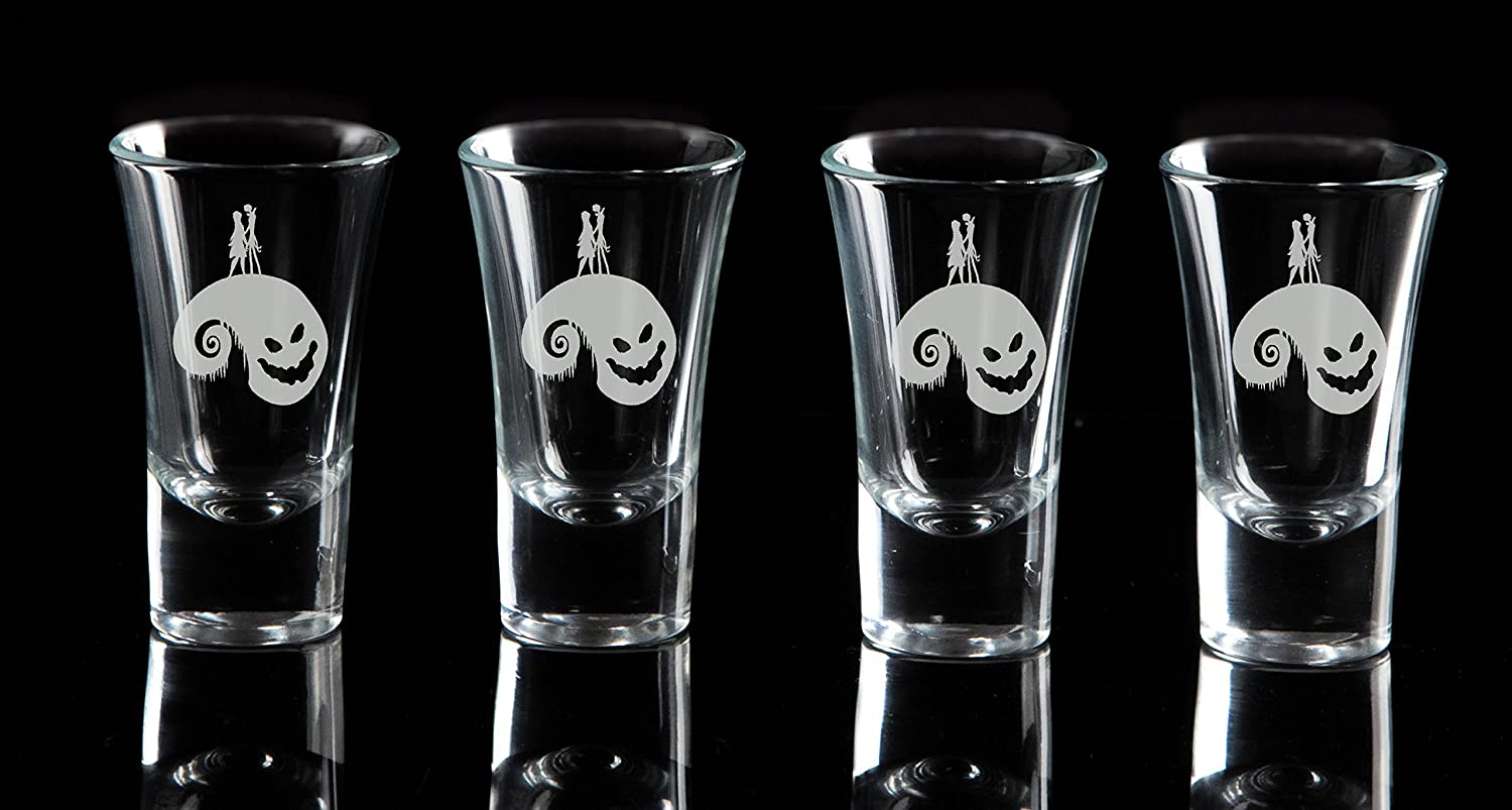 Set of 4 matching Wine Glasses and Beer Glasses Available Ideal for weddings birthday and Christmas gifts The Nightmare Before Christmas Jack Skellington and Sally HILL Etched Shot Glasses