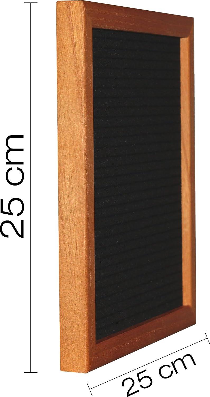 Schere jaggson Letter Board aus Holz und Filz :: XXL-Set mit 580 Buchstaben und Zahlen Staffelei :: Rillen-Tafel Buchstabenbrett Stecktafel 25 x 25 cm quadratisch :: Cognac//Schwarz