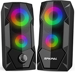 Computer Speakers SPKPAL RGB Gaming Speaker PC 2.0 Wired USB Powered Stereo Volume Control Dual Channel Multimedia AUX 3.5mm for Laptop Desktop Tablet Phone Monitors