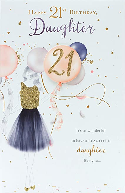Amazon Com Daughter 21st Birthday Card Daughter Birthday Card 21st Birthday Card Female Finished With Gold Glitter Office Products