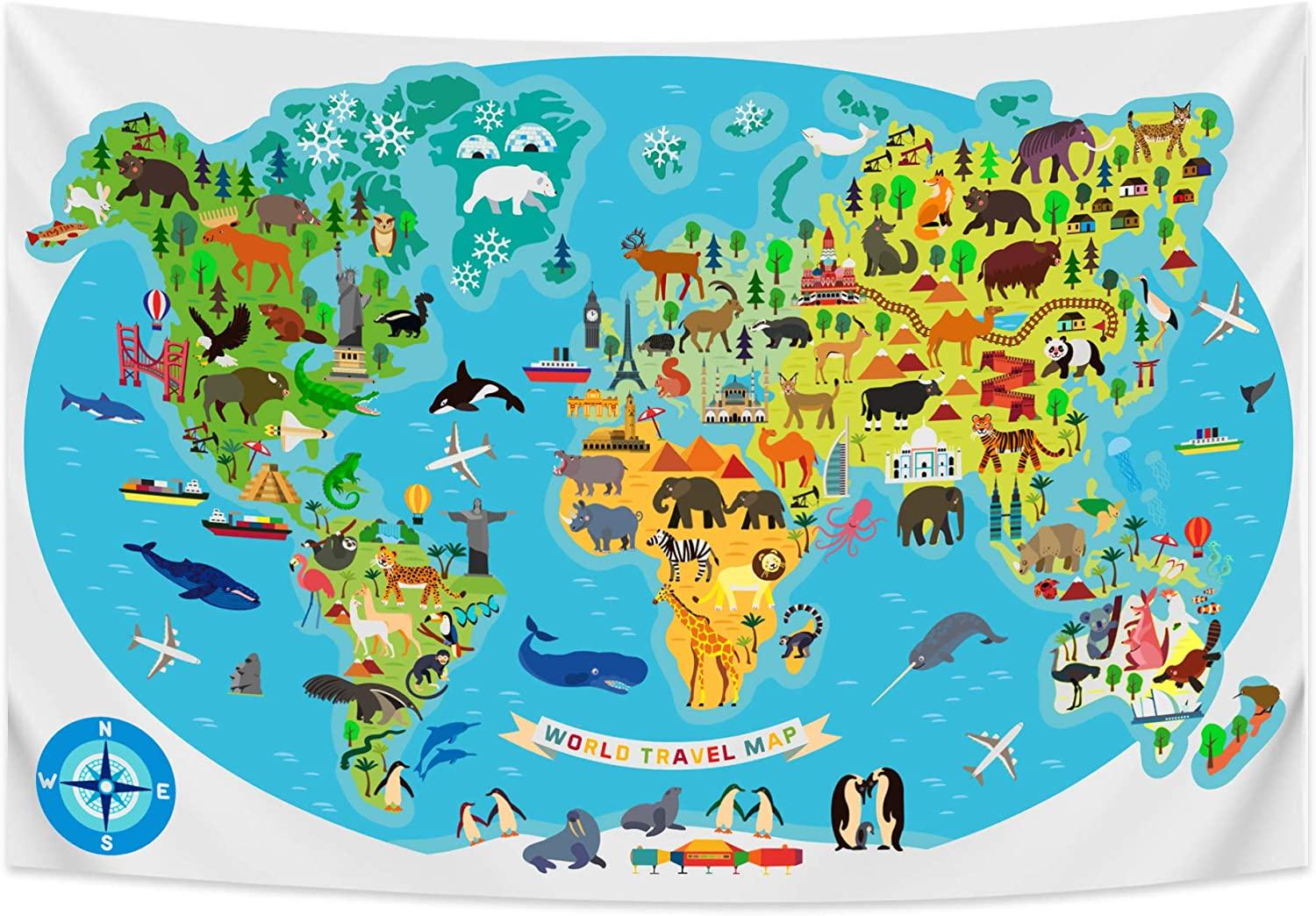 World Map Tapestry for Children - Large Travel Map for Kids - Cute and Colorful Wall Decor with Animals and Landmarks - Educational Learning Aid for Geography Lessons, Classroom, School, Homeschool
