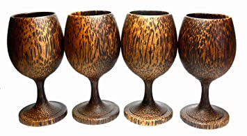 Amazoncom Set 4 Handmade Wooden Wine Glass Glasses Palm Wood