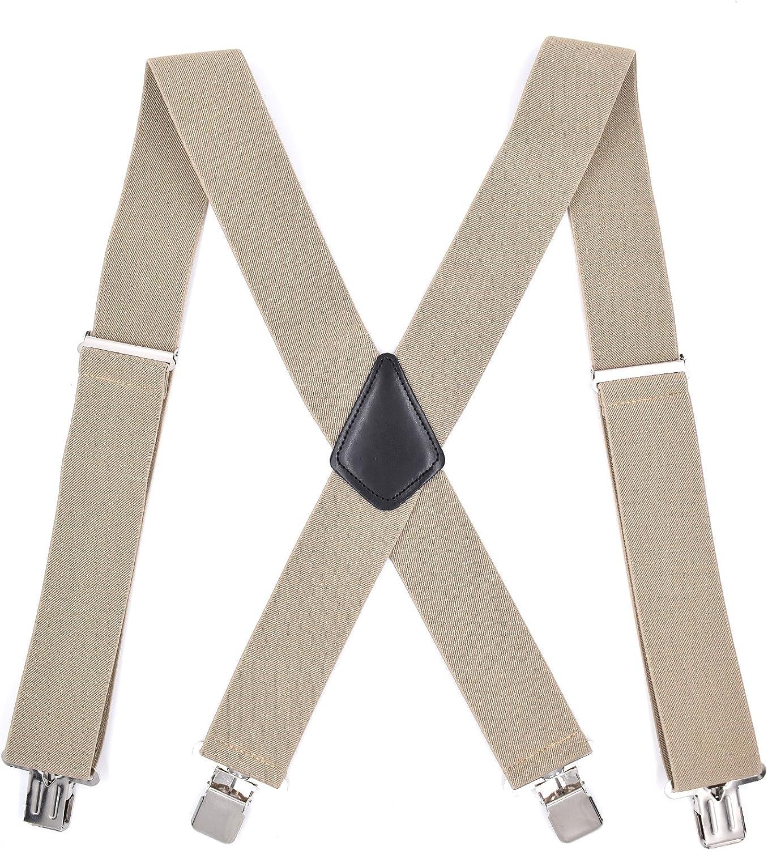 MENDENG Mens Elastic Suspender Adjustable 2 Inches X Shape Braces Heavy Duty
