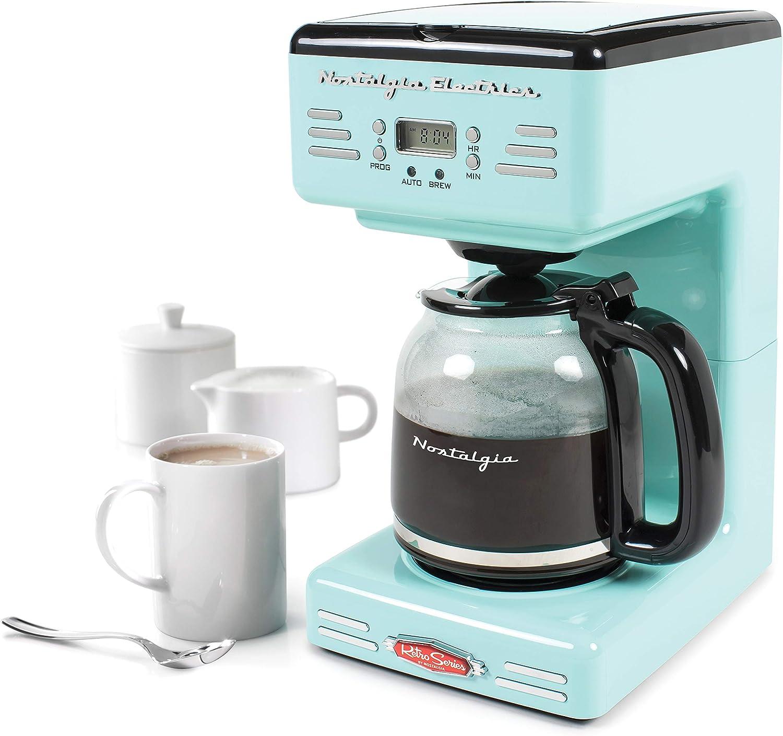 Nostalgia RCOF120AQ Retro 12-Cup Programmable Coffee Maker – Aqua Blue