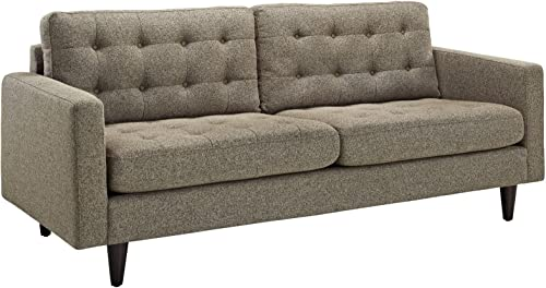 Modway Empress Mid-Century Modern Upholstered Fabric Sofa In Oatmeal