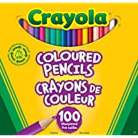 Crayola  Coloured Pencils, 100 Count Pencil Crayons, Vibrant colours, Pre-sharpened, Art Tools, Adult Colouring, Bullet Journaling, School and Craft Supplies, Drawing Gift for Boys and Girls, Kids, Teens Ages  5, 6,7, 8 and Up, Holiday Gifting, Stocking Stuffers, Arts and Crafts