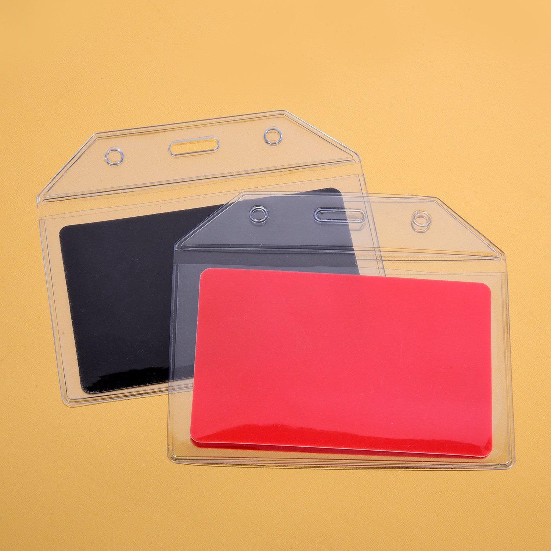 Esposizione e Business 30 Pezzi Porta ID Carta Trasparente Porta Badge Orizzontale con Cordini di Portabadge per Ufficio