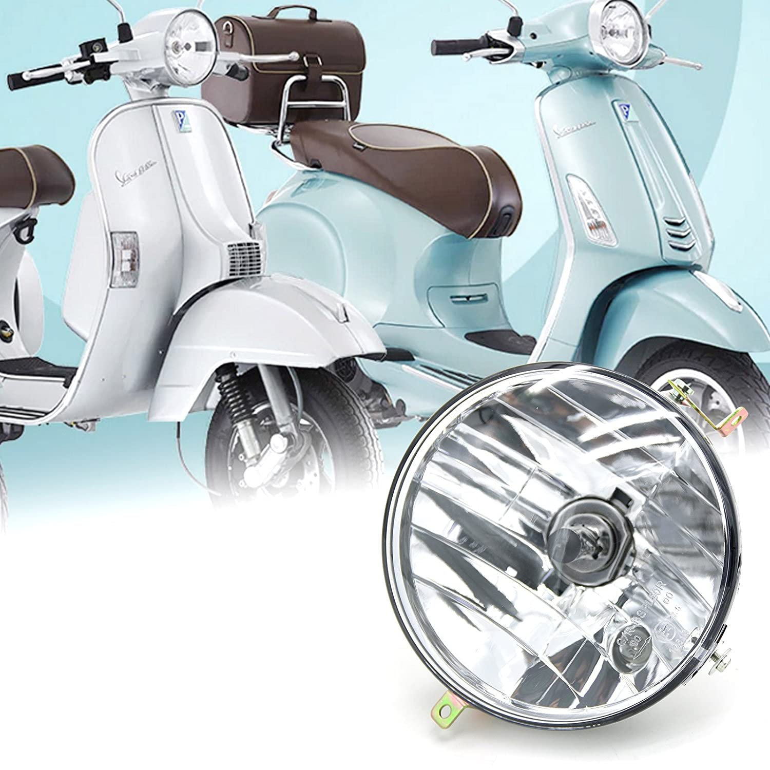 12V Motorcycle Crystal Headlight Assembly Round Clear Head Lamp for Vespa Old P PE PX125 PX150 P200E Disc T5 EFL LML NV Star Stella Star 4S VINTAGE EVOLUTION 4S 2S STAR 4S 2S VINTAGE 2S GT 2T STAR 125