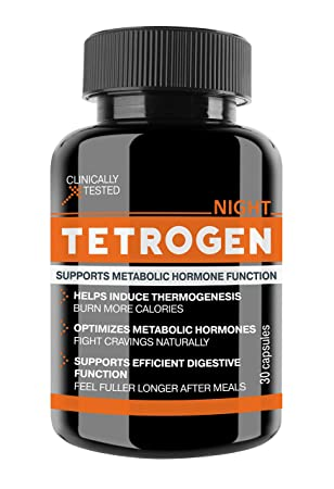 Tetrogen Night Nutritional Supplement with 4 Proven Ingredients to Optimize Metabolic Hormones Naturally Without Jitters or Cravings