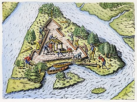 Amazon Com Fort Caroline 1564 Nthe Second French Expedition To Florida Under Ren De Laudonniere Begin The Construction Of Fort Caroline On An Island In The St Johns River In 1564 Colored Engraving