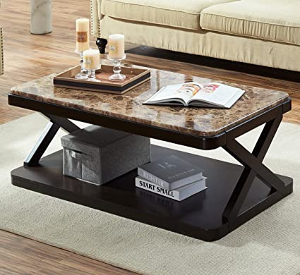 Ou0026K Furniture Modern Faux Marble Top Coffee Table, Rectangular Cocktail  Table With Bottom Shelf,