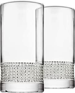 Godinger Highball Water Beverage Glass Cup - Silver Bling, Set of 2