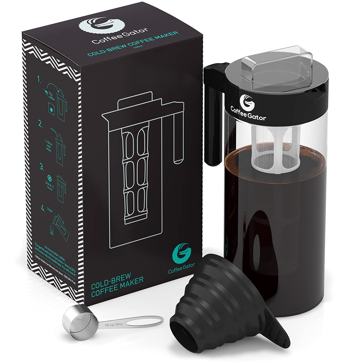 Cold Brew Coffee and Tea Maker – 1.3l Kit Plus Steel Scoop and Funnel by Coffee Gator